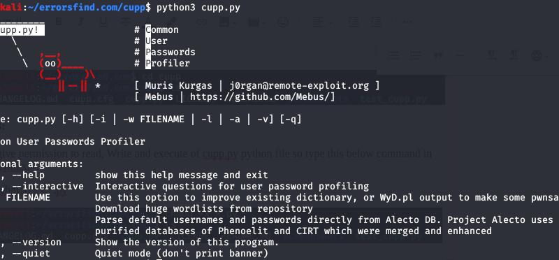 CUPP Termux Tool - common User Passwords Profiler