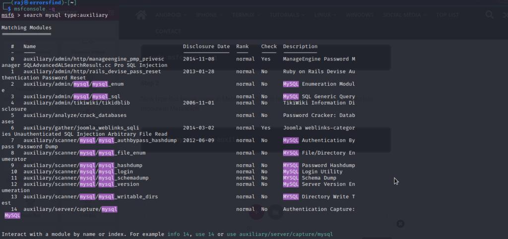 Metasploit MYSQL enumeration – enumerate user data