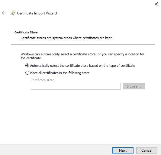 how to import certificat on windows