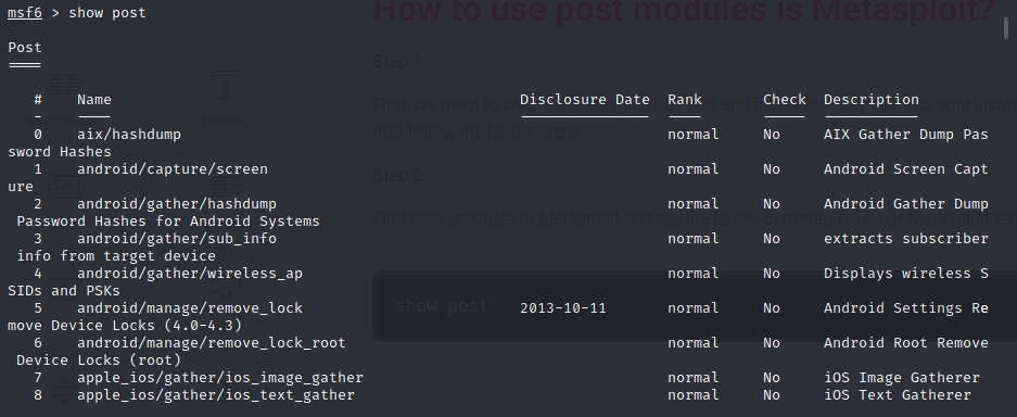how to use post modules is metasploit