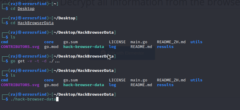 Hack browser data – Decrypt all information from the browser